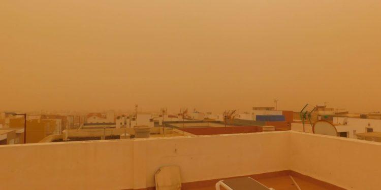Imagen de la intensa calima vivida en Fuerteventura el pasado mes de febrero. Foto: Ftv Hoy