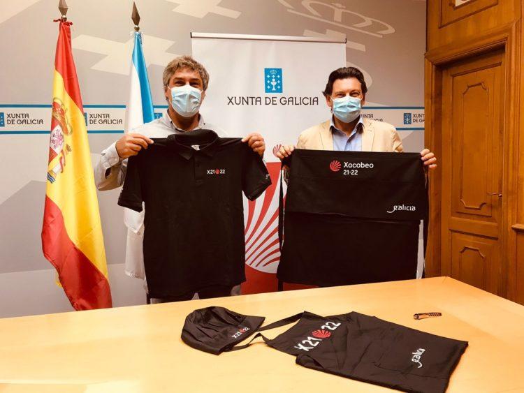 Aguado y Miranda, en la sede da Secretaría Xeral de Emigración en Santiago de Compostela